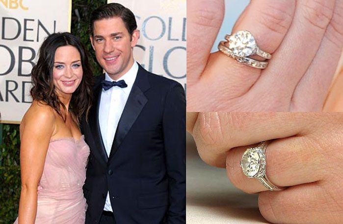 Emily Blunt -- a beautiful Edwardian-style ring.
