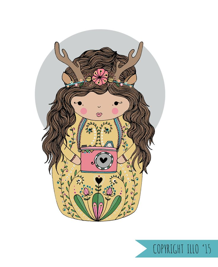 Copyright illo 2015 Work I commissioned for Love Alda Birth Photography | Deer Character | Deer | Girl | Illustration | Antlers | Camera