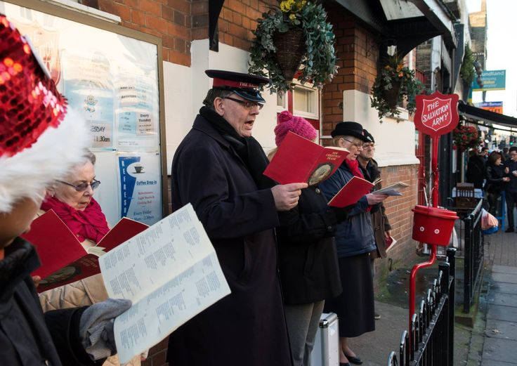Salvation Army singing Christmas Carols in Portobello Market.