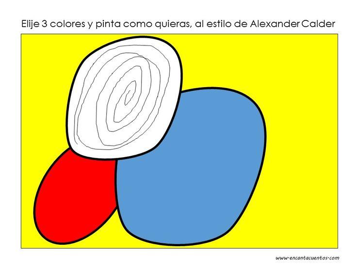 Pinta con 3 colores como Alexander Calder. Encuentra la lámina en blanco para pintar en www.encantacuentos.com
