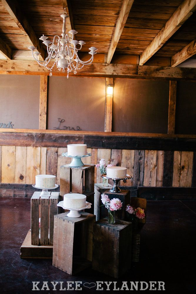 Rustic Cake Table with Crates | Kaylee Eylander Photography Ritter Farms DIY Wedding