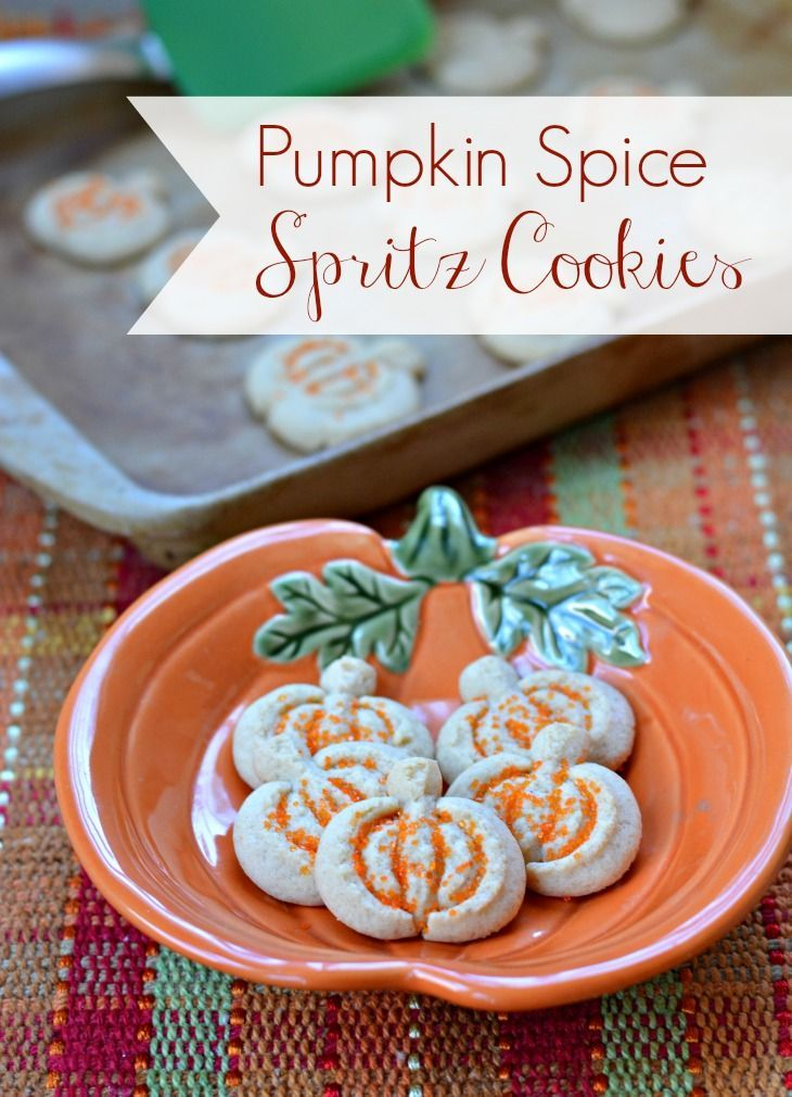 Pumpkin spice spritz cookie recipe is a simple butter cookie with pumpkin spice! Use a cookie press to make these easy cookies for fall!