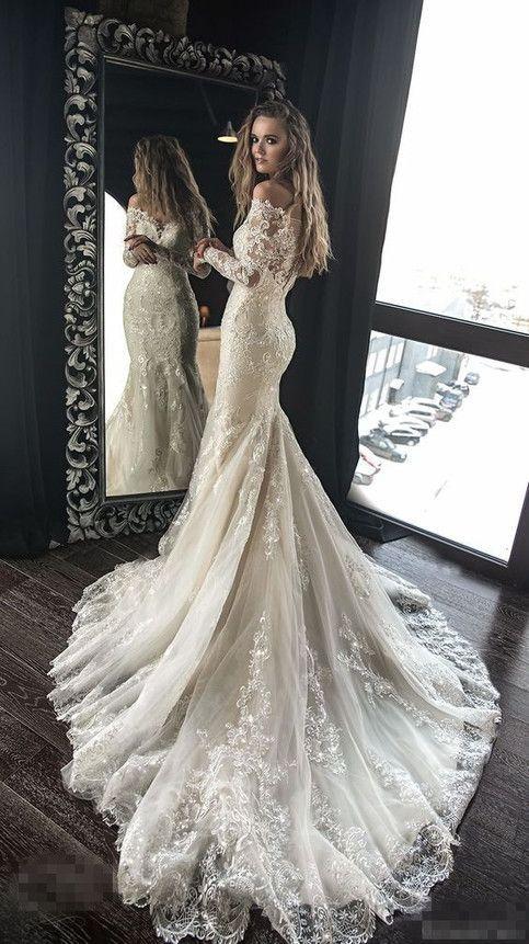 6e93f1bcaeaac Exquisite Lace Appliques Beaded Wedding Dresses,Mermaid Sheath Beautiful  Bridal Dresses,Sweep Train Wedding