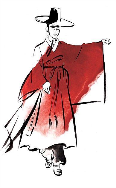 Male Korean traditional dress illustration by Katharine Asher