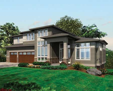 Contemporary Prairie with Daylight Basement - 69105AM | Contemporary, Northwest, Prairie, Luxury, 2nd Floor Master Suite, Butler Walk-in Pantry, CAD Available, Den-Office-Library-Study, Jack & Jill Bath, Loft, Media-Game-Home Theater, PDF, Sloping Lot | Architectural Designs