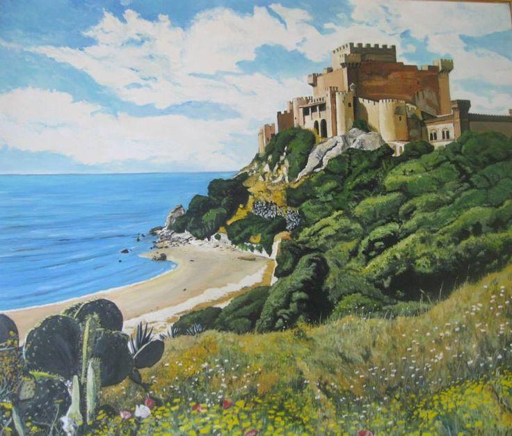 Olio su tela, 70cm x 80cm. prezzo: 450 euro.     Contatto: micheleboscia89@gmail.com Il Castello di Falconara è situato sulla costa centro-meridionale della Sicilia.  #art #artwork #italy #vista #castello #mare #sicilia #paesaggio