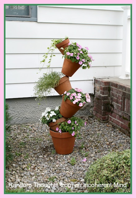 Random thoughts from an incoherent mind: Filling a Vacancy (Crooked Planter): Outdoor Ideas, Plant Tower, Garden Ideas, Crooked Planter, Vacancy Crooked, Random Thoughts, Garden Stuff, Delightful Garden, Filling