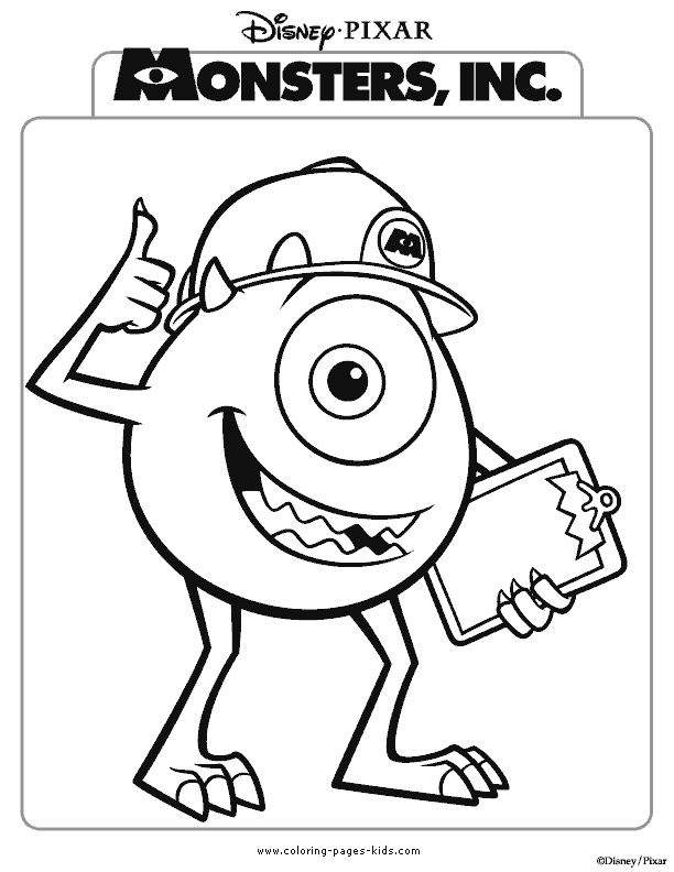For multiple monster poster. Disney coloring pages