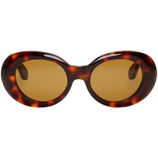 Acne Studios Tortoiseshell Mustang Sunglasses ($295) ❤ liked on Polyvore featuring accessories, eyewear, sunglasses, glasses, tortoiseshell, round tortoiseshell sunglasses, rounded sunglasses, acetate glasses, round tortoise sunglasses and round tortoiseshell glasses