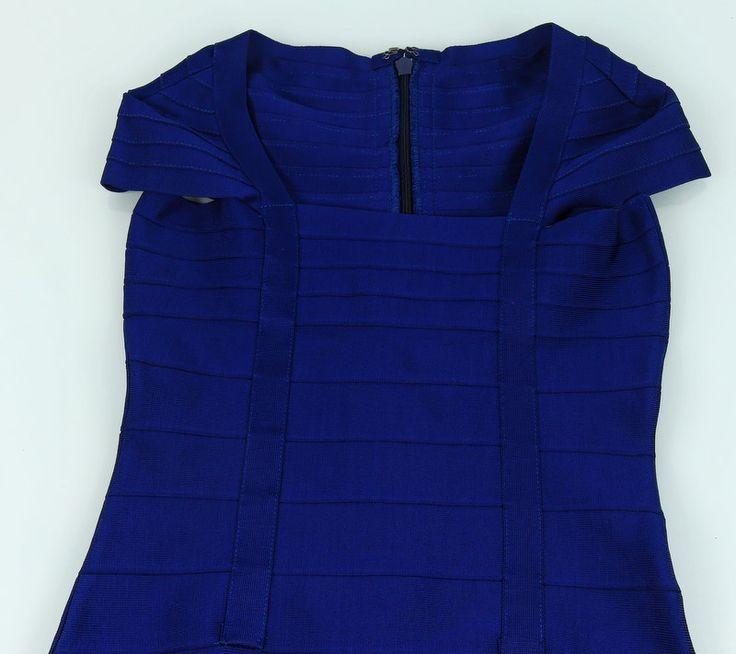 Платье Herve Leger синее. Размер XS-S #18885 Распродажа платьев! Цена снижена!