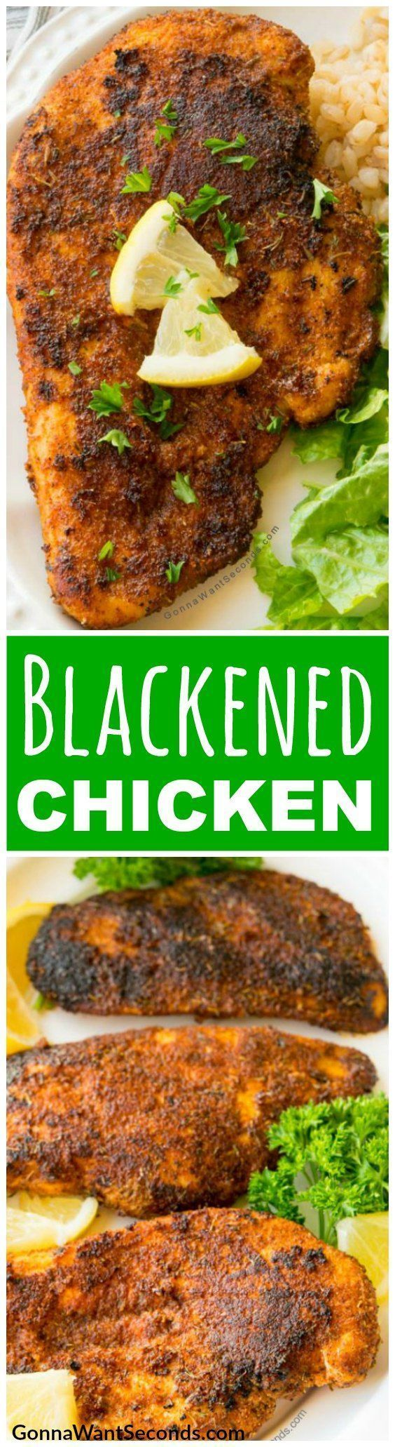 Our easy Blackened Chicken Recipe is inspired by Paul Prudhomme, generously coated with a fiery spice rub, then sauted to perfection in a traditional cast iron skillet. This cajun delight can be made start to finish in 15 minutes and makes a dinner thats delicious taste belies its ease of preparation! #Blackened #Chicken #ChickenBreast #Recipe #Seasoning #Skillet #Easy #HowToMake #Cajun #Dinner #CastIron #HowToCook #AndRice #Meals #Rub #Spice #Cayenne #LeftOver #Pasta