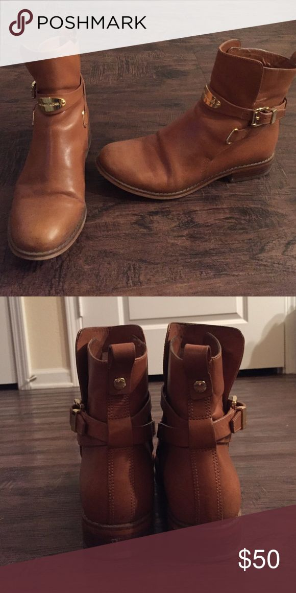 Michael Kors Leather Ankle Boot Tan buckle ankle boots MICHAEL Michael Kors Shoes Ankle Boots & Booties