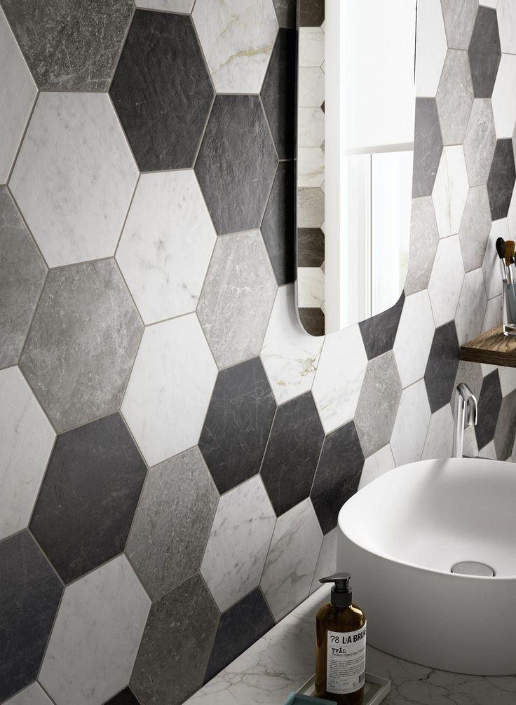 Oltre 20 migliori idee su piastrelle esagonali su pinterest piastrella a nido d 39 ape interni - Piastrelle bagno nere ...