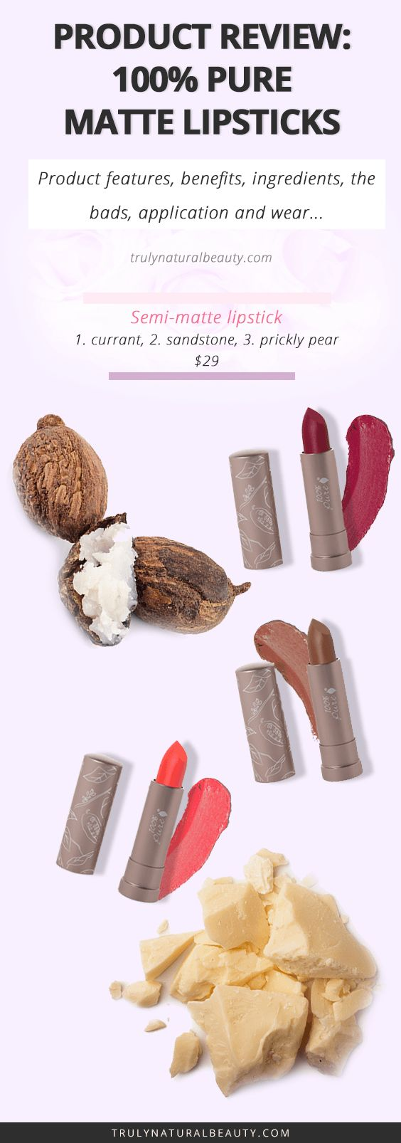 100% Pure cocoa butter semi-matte lipstick review, organic natural lipsticks, matte lipsticks, cocoa butter, shea butter, all natural ingredients, organic makeup line, natural beauty products, organic lipstick