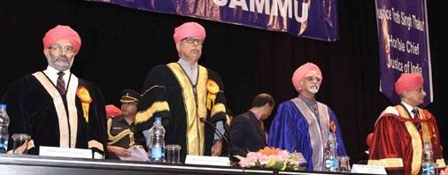 Vice President M Hamid Ansari Governor N N Vohra Chief Justice of India Justice T S Thakur and JU Vice-Chancellor Prof R D Sharma at 16th Convocation of JU on Saturday. Excelsior/Rakesh