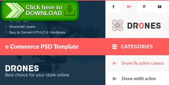 [ThemeForest]Free nulled download Drones - E-Commerce PSD Template from http://zippyfile.download/f.php?id=9481 Tags: bootstrap grid, commerce, drones, drones online store, Drones Shop, Drones Store, drones template, e-commerce, ecommerce, layered psd, niche, online shopping site template, psd template