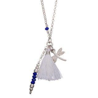 Naszyjnik z ważką i białym chwościkiem. #bracelet #mokobelle #tassel #bransoletka #summer #fashion #collection #jewelry #jewellery #accessories #silver #romantic #lato #dragonfly #tassel #chwost