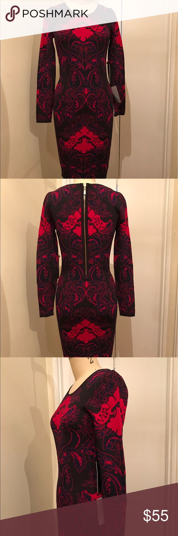 New - Fuchsia Jacquard Pattern Bodycon Dress New - Fuchsia Jacquard Pattern Bodycon Dress Sold by Nordstrom. Fabric has tones of Blue, Fuchsia, Pink. The mannequin is a size 2 for reference Nordstrom Dresses