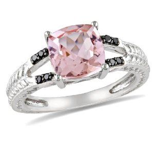 Sterling Silver 2 1/10ct TGW Morganite and 0.04ct TDW Black Diamond Fashion Ring Amour. $139.00