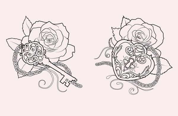 key and lock Tattoo designs by Martine Strøm, via Behance