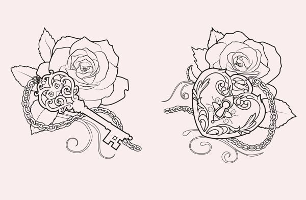 key and lock Tattoo designs by Martine Strøm, via Behance