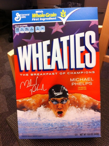 Michael Phelps makes the cover of Wheaties again