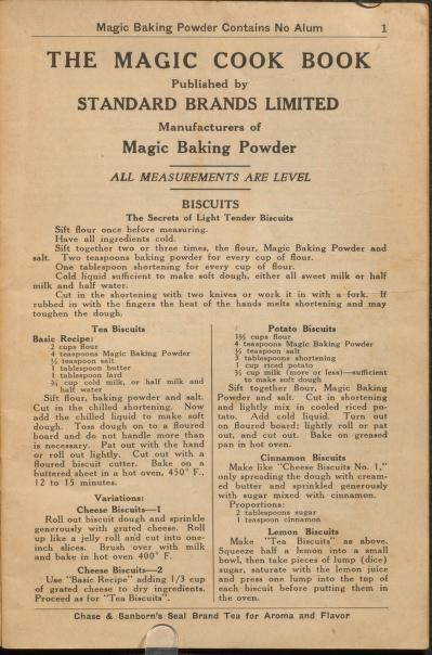 1930 - 1 | The Magic Cook Book | Published by Standard Brands Limited, Gillette Products, Canada