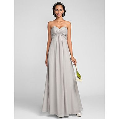 Sheath/Column Sweetheart Sweep/Brush Train Chiffon Bridesmaid Dress (551429) – USD $ 129.99