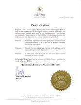 Proclamation from Calgary, Alberta; January, 2012.