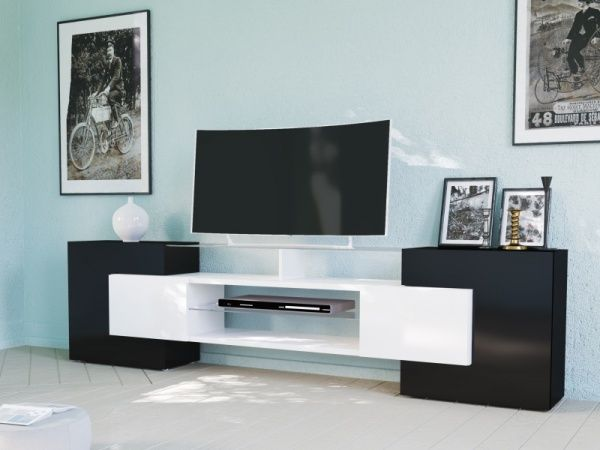 Slate, modern TV cabinet in white or white and black finish