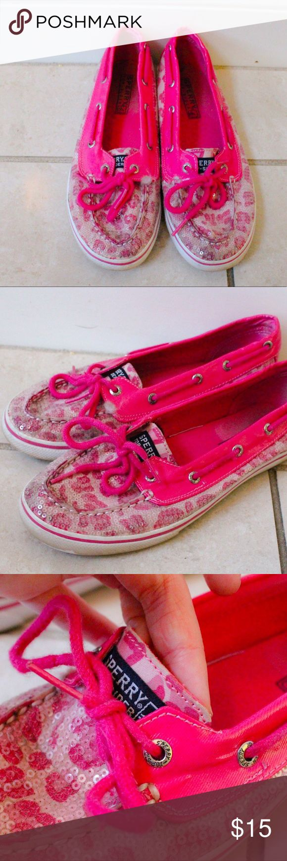 Rare Sperry Boat Shoes Pink Sequined Cheetah Print BACK TO SCHOOL CLEARANCE SALE     Lightly loved Sperry Top Siders.  Sequined with a vibrant pink color & Cheetah print design.  Slight fade inside & fluff on inner side of right shoe.  Minor scuff on bottom & toe. Awesome print to add fair to any outfit! KIDS SIZE 5M, FITS WOMAN SIZE 7.   - All items cleaned before shipping.    -  Make me an offer & BUNDLE to save!  Sperry Top-Sider Shoes Sneakers