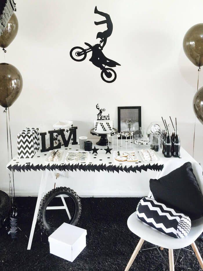Boys Motor Cross Themed Birthday Party Dessert Table