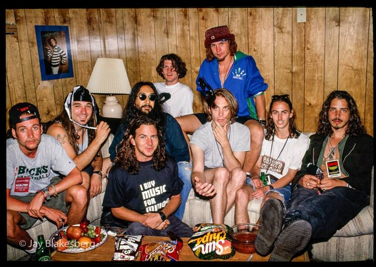 Soundgarden and Pearl Jam in PJ's dressing room Lollapalooza 1992.