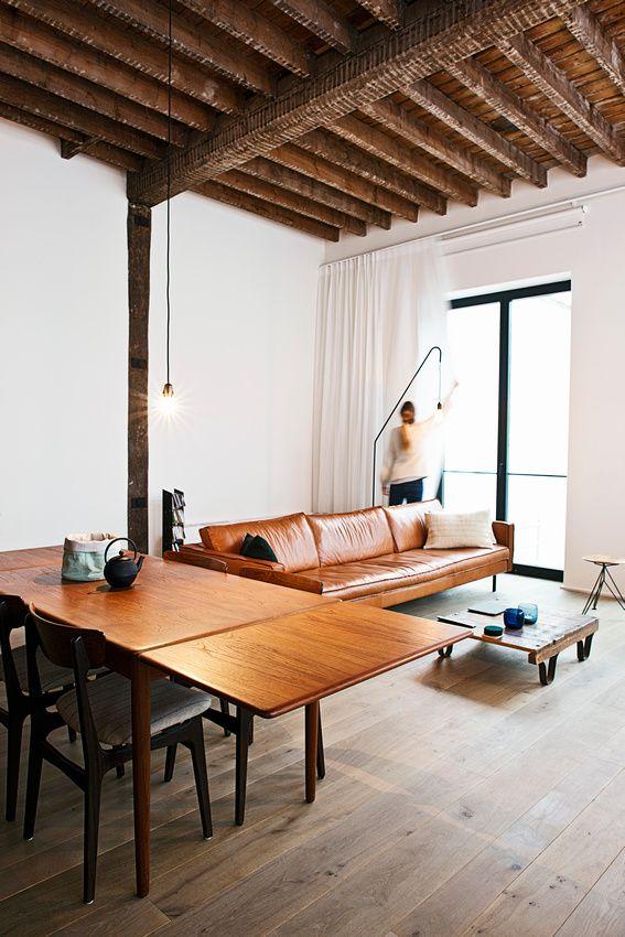 cognac leather couch in a sleek shape masculine u0026 modern