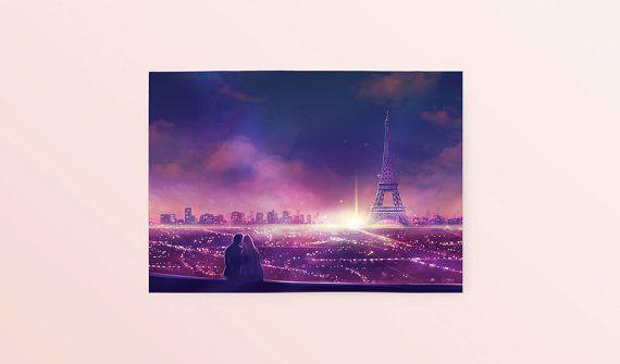 Anime Paar Liebe Postkarte: In diesem Moment von SugarmintsArtstore
