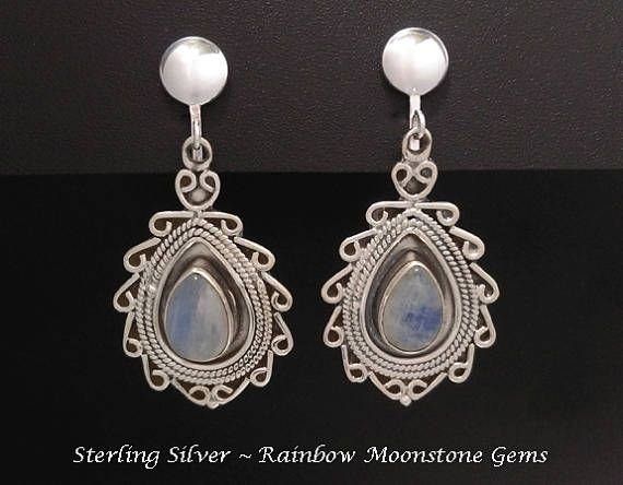 Clip On Earrings: Stunning Rainbow Moonstone Gems in 925 Sterling Silver Clip-On Earrings | Moonstone Earrings, Silver Clip On Earrings found at https://www.etsy.com/shop/EarringsArtisan #cliponearrings #moonstoneearrings #gemstoneearrings #womensfashion #clipearrings #clipons