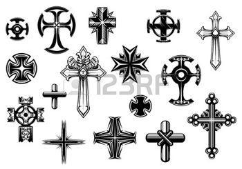 croix: Croix religieuses set isolé sur fond blanc pour les religieux, tatouage et la conception christianisme