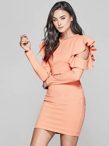 The perfect Valentine's Day outfit: This feminine dress features a cold-shoulder design with long sleeves, ruffle details and a body-hugging fit | MARCIANO.com
