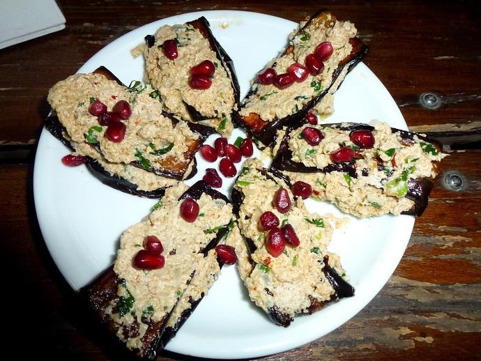 nigvziani badrijani - Georgian dish.