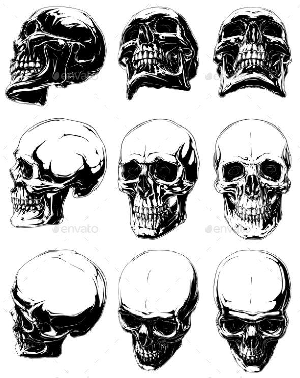 Human Jaw Tattoo: Detailed Graphic Black And White Human Skulls Set