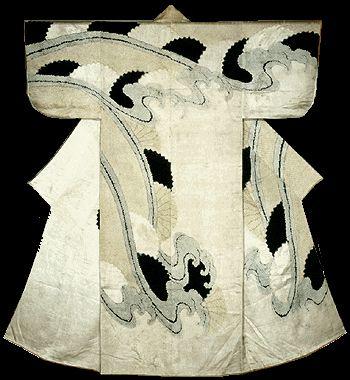 "Dyed-aperture pattern Kosode Kikusui ground white Nume (with what dyed-iris pattern Kikusui joints without) "" Edo period one territory (Century 17) Nara Prefecture Museum of Art, Japan.."