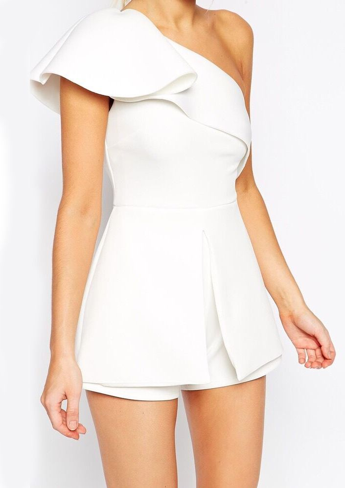 Shop White One-shoulder Ruffle Slim Jumpsuit online. Sheinside offers White One-shoulder Ruffle Slim Jumpsuit & more to fit your fashionable needs. Free Shipping Worldwide!