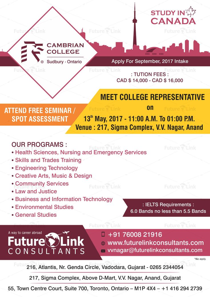 Attend Free Seminar And Spot Assessment Of Cambrian College, #Canada At  Future Link Consultants, #VVNagar. #Date: 13th May 2017 #Time: 11:00 A.M.  To 01:00 ...