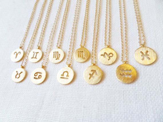 Gold Zodiac Necklace, Gold Disc with Zodiac Signs Cut out, Personalized Necklace, Horoscope Gold necklace, birthday, Astrology Aries: March 21 - April 19 Taurus: April 20 - May 20 Gemini: May 21 - June 20 Cancer: June 21 - July 22 Leo: July 23 - August 22 Virgo: August 23 - Sept.