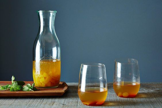 "Golden Plum Kir Royale ""Bowle,"" A Fruity Summer Wine Drink, a recipe on Food52  http://food52.com/recipes/6132-golden-plum-kir-royale-bowle-a-fruity-summer-wine-drink"