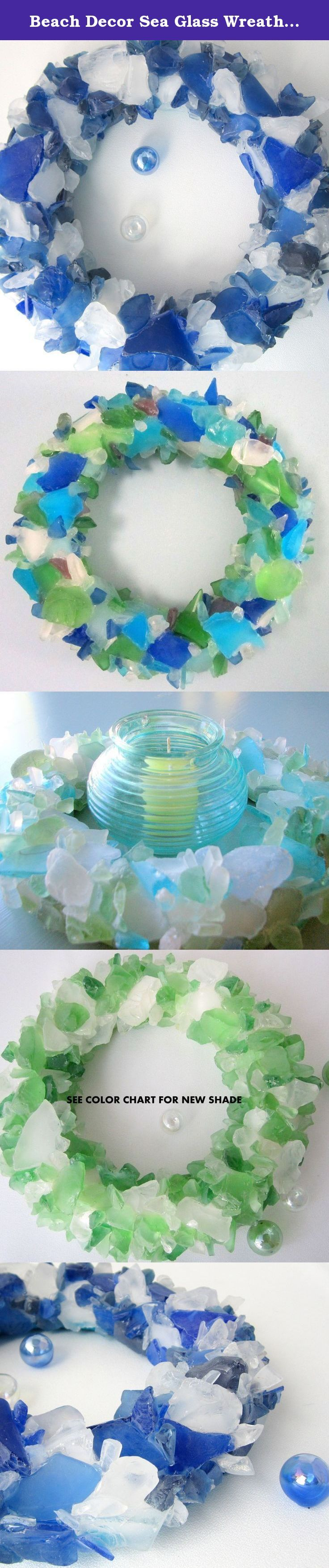 """Beach Decor Sea Glass Wreath - Nautical Beach Glass Wreath in Any Color - 12"""". Beach decor sea glass wreath. My nautical decor beach glass wreath is sparkly and gorgeous for your wall or table centerpiece surrounding a candle. 12"""" overall and made with custom shades in any combination you'd like. Layers of sea glass are meticulously adhered with industrial adhesive until the face and most of the sides are fully covered. The back portion that lies against the wall is not finished with…"""