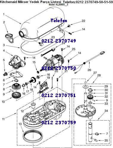 Planet Mikser Makinası Parçaları Satışı 0212 2974432 - Kitchenaid Mikser Çırpma Teli 0212 3614581