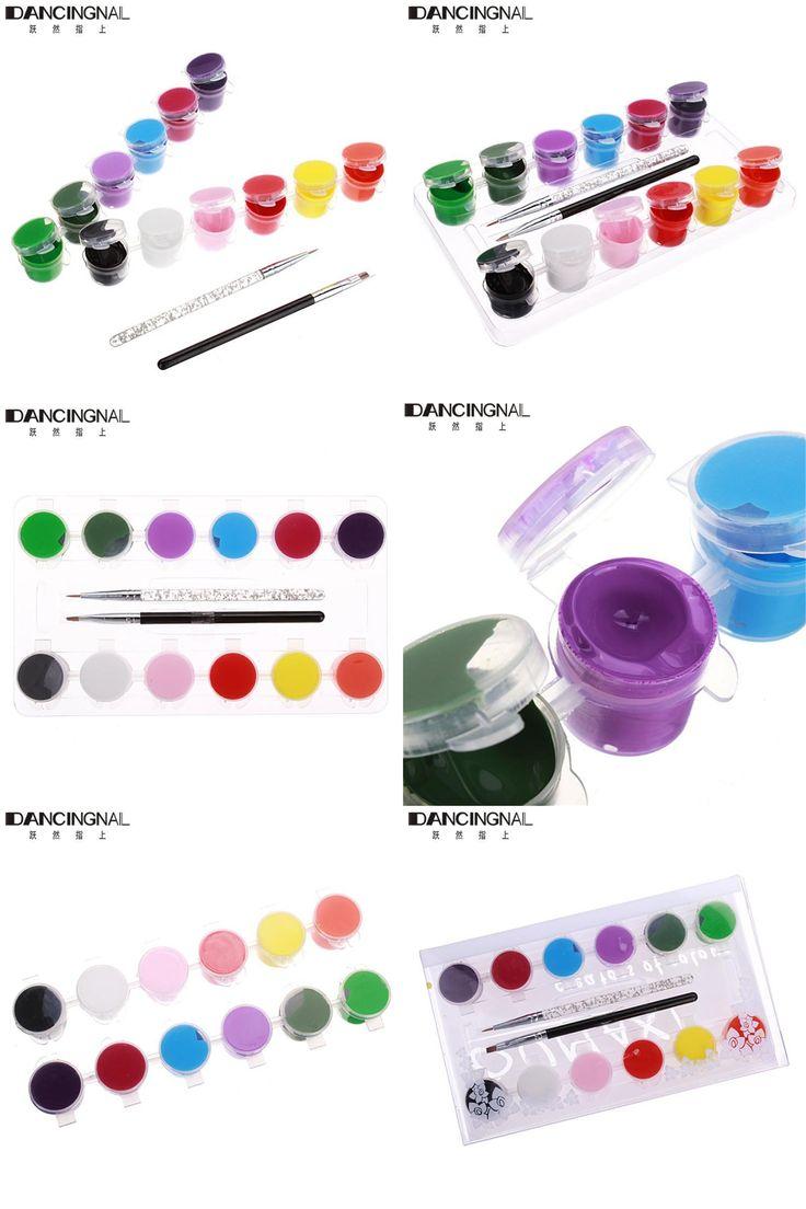 [Visit to Buy] Professional 1 Set 12 Colors 3D Nail Art Pigment 2 Brush Pen Manicures Set Draw Painting Pallet Tool Acrylic Nails Kits #Advertisement