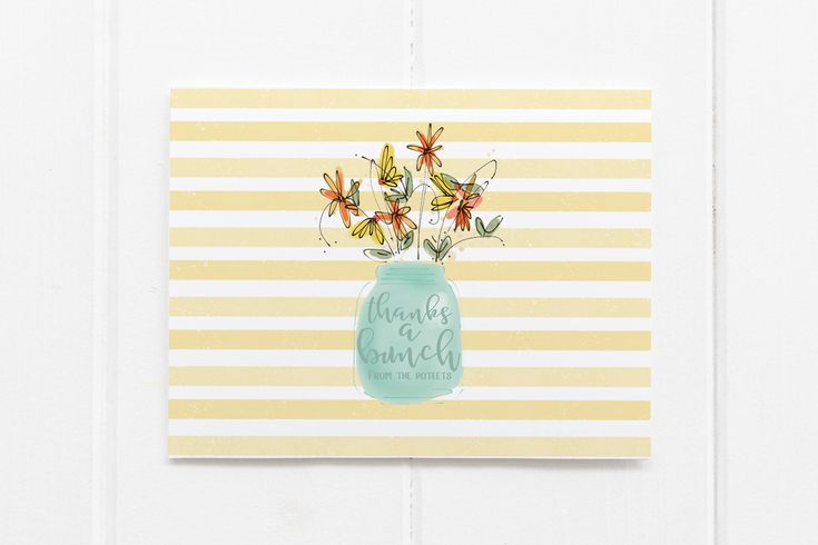 Shabby Chic Thank You Cards   Southern   Personalized Thank You Notes   Mason Jar   Custom Greeting Cards   Personalized Greeting Cards