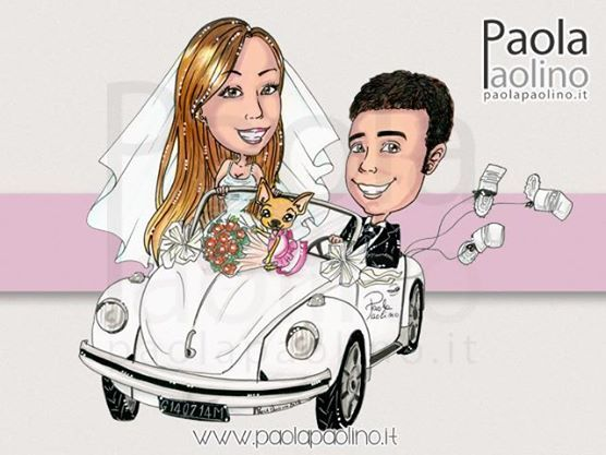 Caricatura di sposi su maggiolone, con la loro cagnolina a bordo!  #caricature #caricaturista